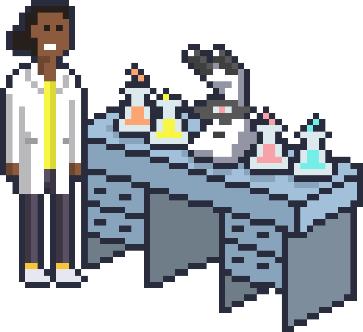 Researcher next to a lab table